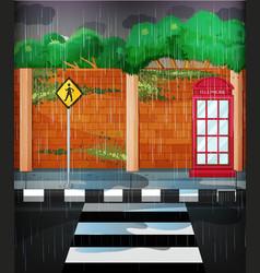 Road scene with heavy rain vector