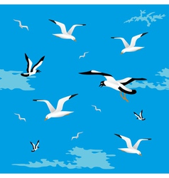 Sea gulls seamless vector image vector image