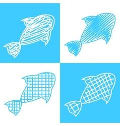 Set of hand drawn fish vector image vector image