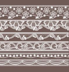 set of six lace ribbons horizontal seamless vector image vector image