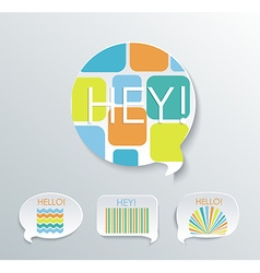 Speech bubbles with different pattern elements set vector image