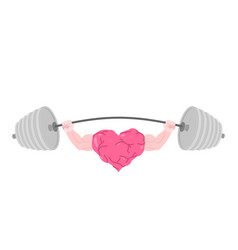strong heart and barbell fitness love isolated vector image vector image