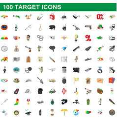 100 target icons set cartoon style vector image vector image