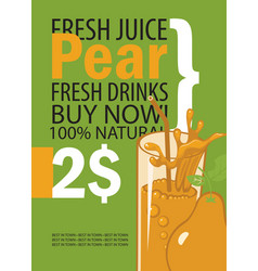 banner with pear and a glass of juice vector image