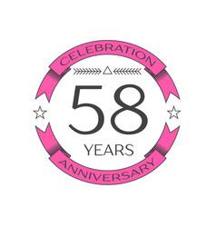 Fifty eight years anniversary celebration logo vector