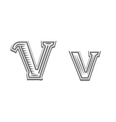 Font tattoo engraving letter V vector image