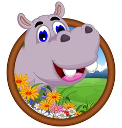 hippo cartoon in frame vector image vector image
