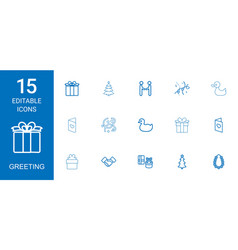 15 greeting icons vector image