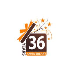 36 years gift box ribbon anniversary vector image