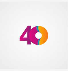 40 years anniversary celebration purple template vector