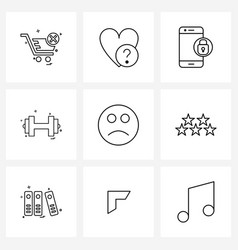 9 interface line icon set modern symbols on vector