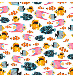 A childish bright cartoon tropic fish pattern vector