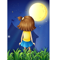 A little girl facing the bright fullmoon vector