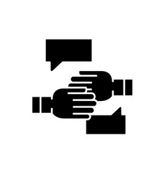 Agreement of intent black icon sign on vector