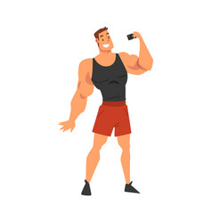 Athlete muscular man taking selfie photo male vector