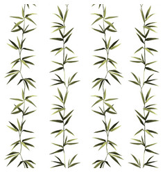 Bamboo seamless vertical pattern on white vector