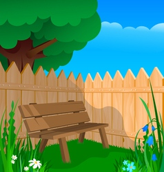 Bench fence and flowers vector
