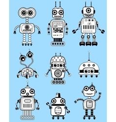 Black and white cut retro robots set vector
