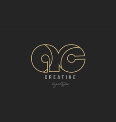 Black and yellow gold alphabet letter ac a c logo vector