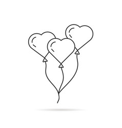 black thin line balloon like heart vector image