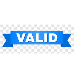 blue ribbon with valid text vector image