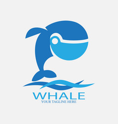 blue whale logo with wave vector image