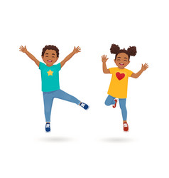 Boy and girl jumping vector