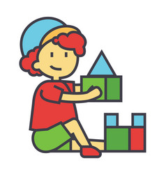 Boy playing with colorful toys bricks concept vector