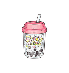 bubble tea with tubule and tapiola in jar sketch vector image
