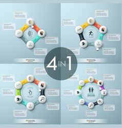 Bundle of 4 modern infographic design templates vector