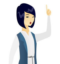 business woman with open mouth pointing finger up vector image