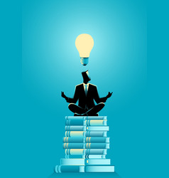businessman doing yoga on books pile vector image