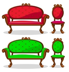 Cartoon colorful Retro chair and sofa vector