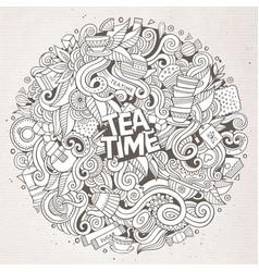 cartoon cute doodles tea time vector image