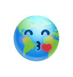 Cartoon earth face blowing kiss icon funny planet vector