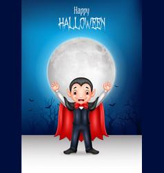 Cartoon happy vampire with halloween background vector