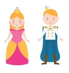 Cartoon princess and prince characters vector