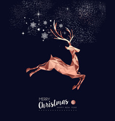 Christmas and new year copper low poly deer card vector