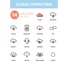 cloud computing - modern line design icons set vector image