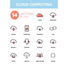 cloud computing - modern line design icons set vector image