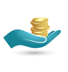 coins in hand vector image