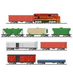 Collection of freight railway cars vector image