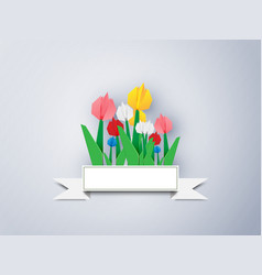 Colorful tulip paper on a gray background vector