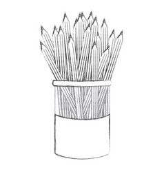 Contour pencils color inside the butter jar icon vector