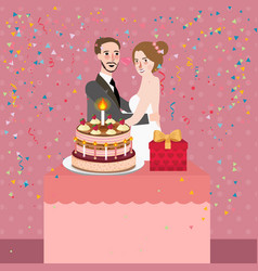 Couple celebrating wedding anniversary party vector