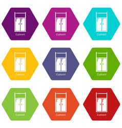 cupboard icons set 9 vector image