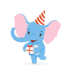 Cute baby elephant in a party hat holding gift box vector