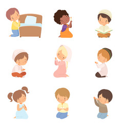 Cute little kids characters kneeling in prayer set vector