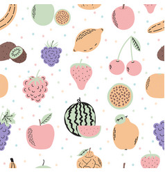 Cute seamless pattern with exotic fruits cartoon vector