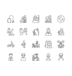 doctor and patients line icons signs set vector image